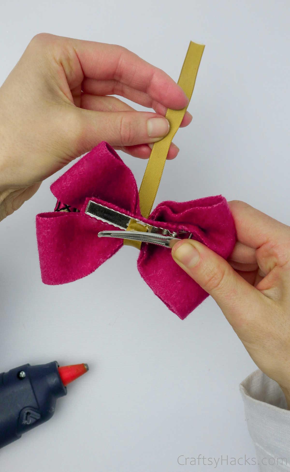 wrapping yellow ribbon