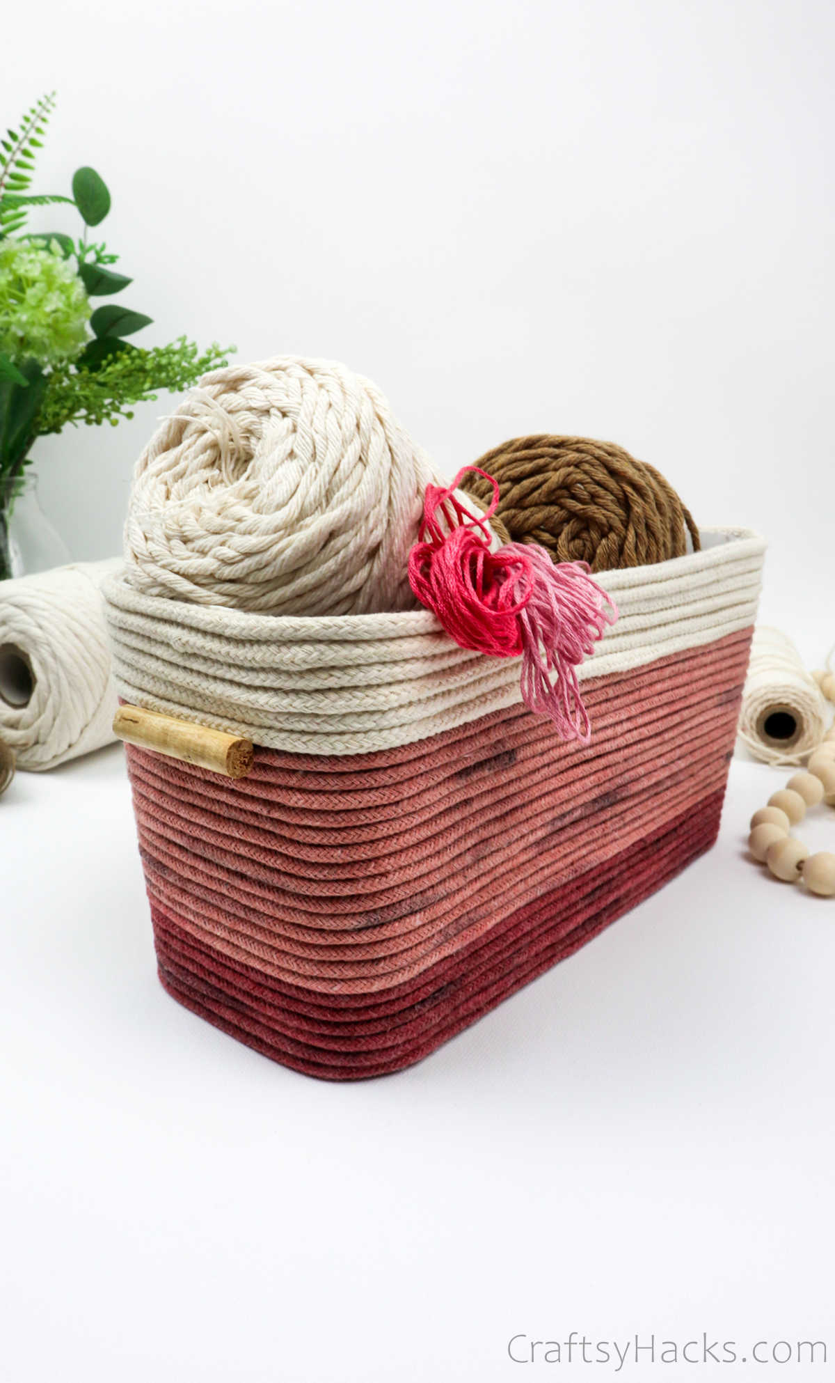 rope basket with yarn
