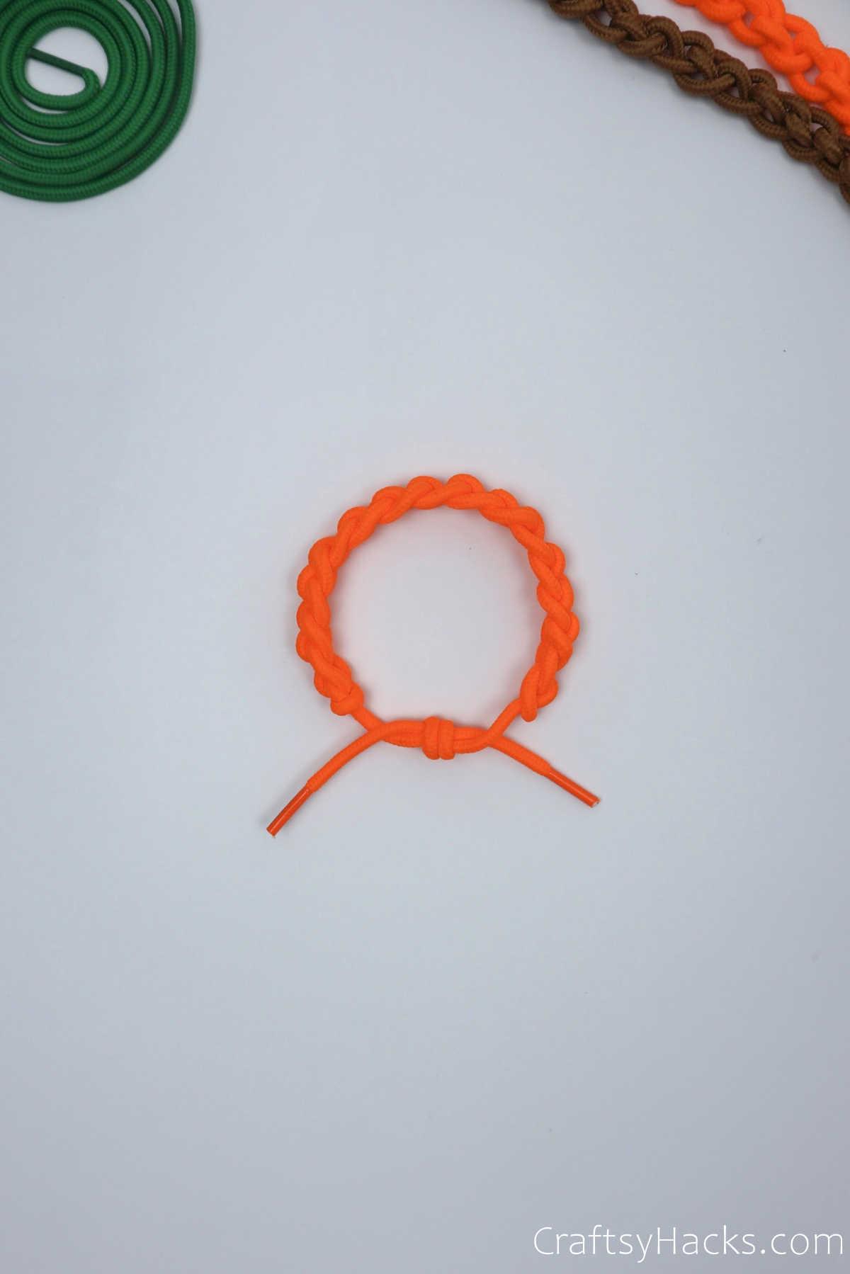 completed orange bracelet