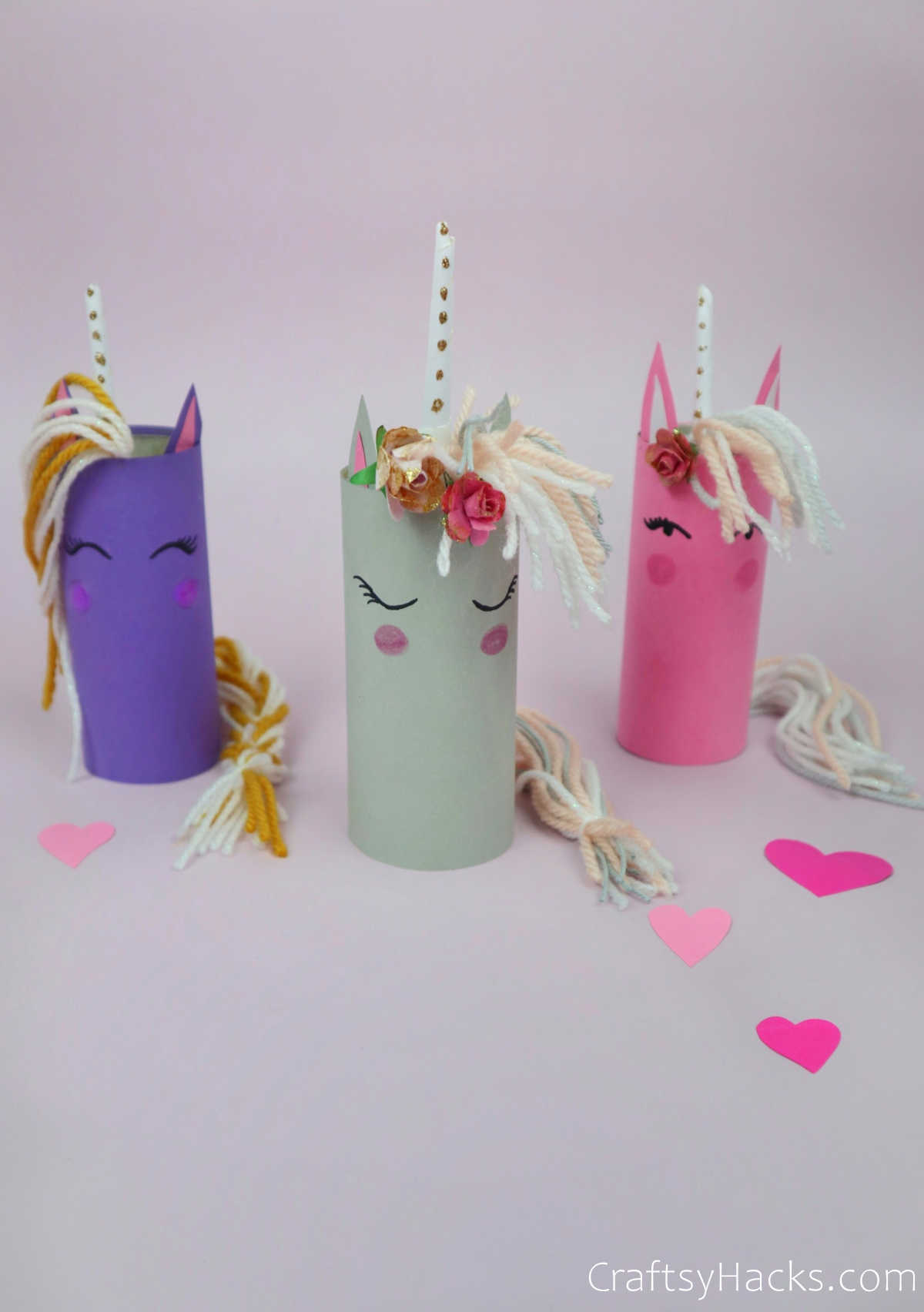 three completed paper roll unicorns