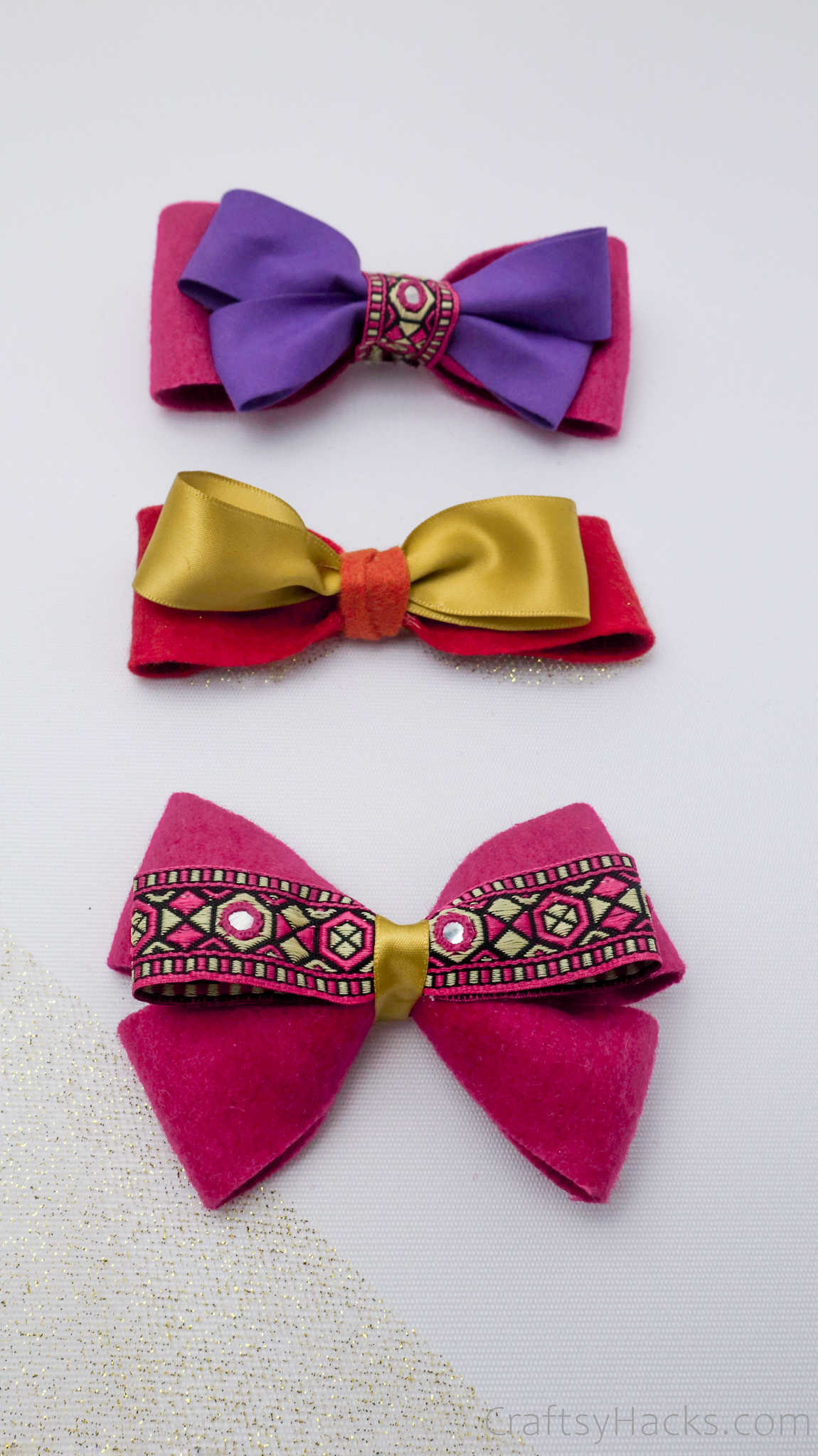 three completed hair bows