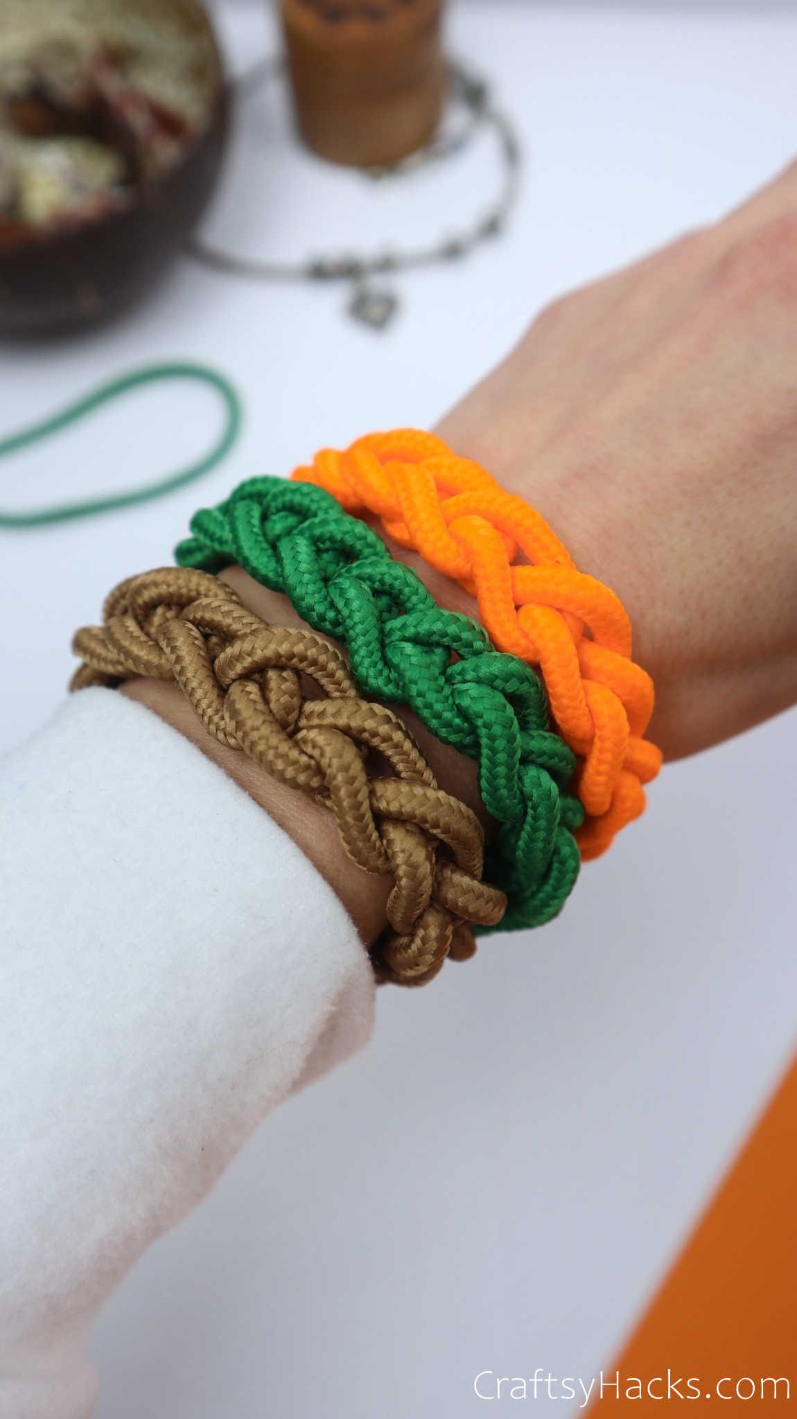completed bracelets on wrist