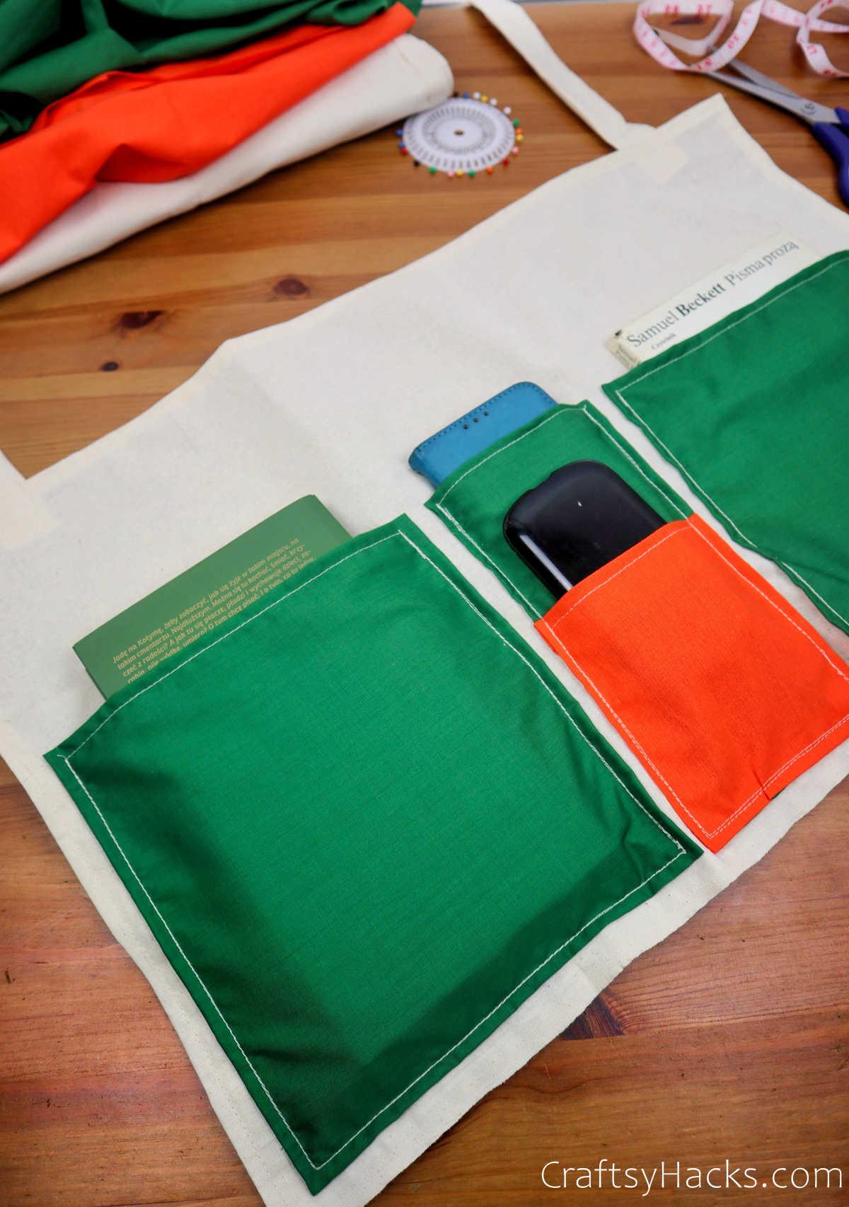 organizer with green pockets