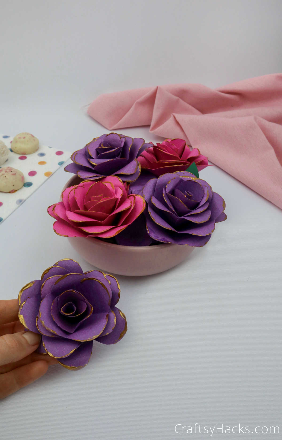 bowl of paper flowers