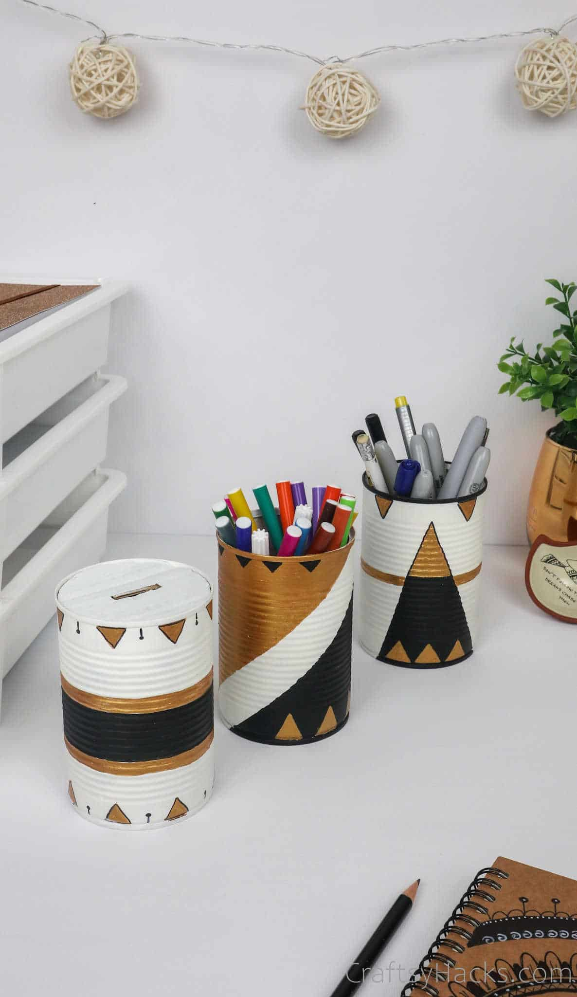 tin cans on desk