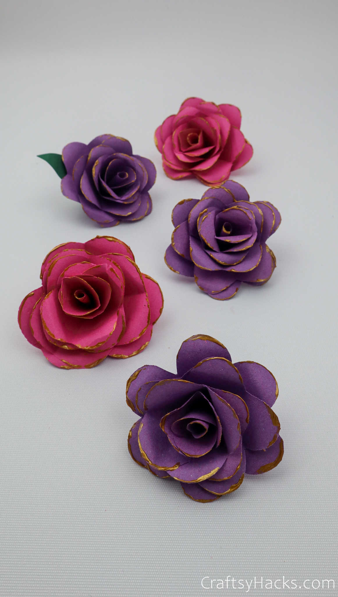5 finished paper flowers