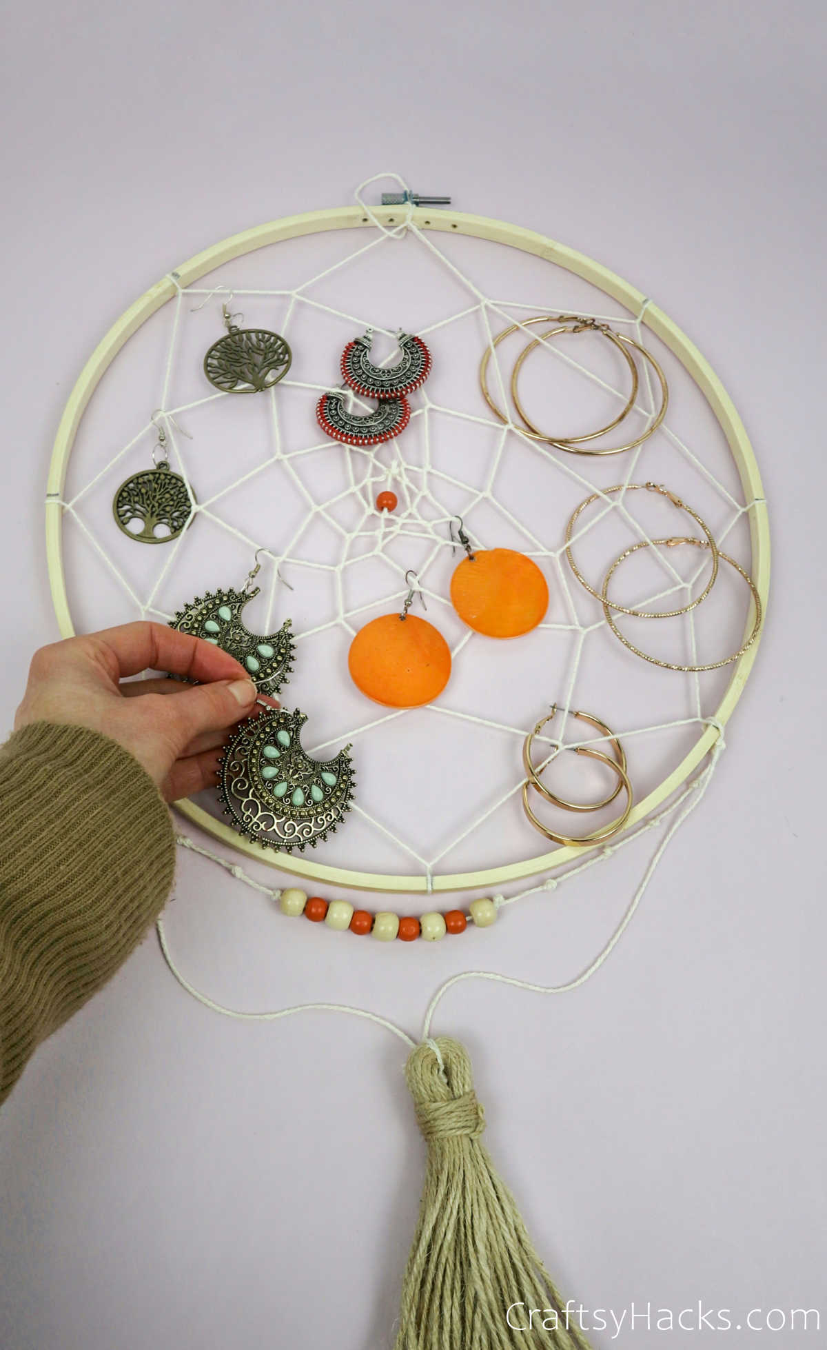 earrings on jewelry organizer