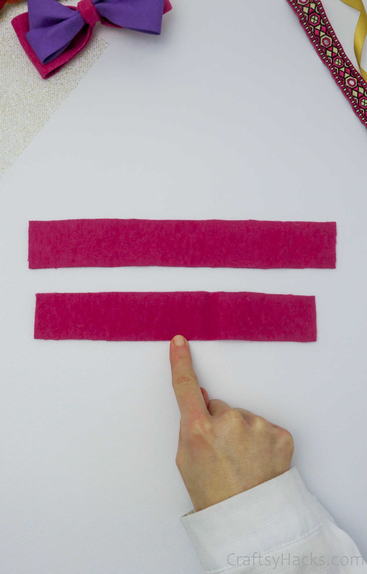 pink felt strips