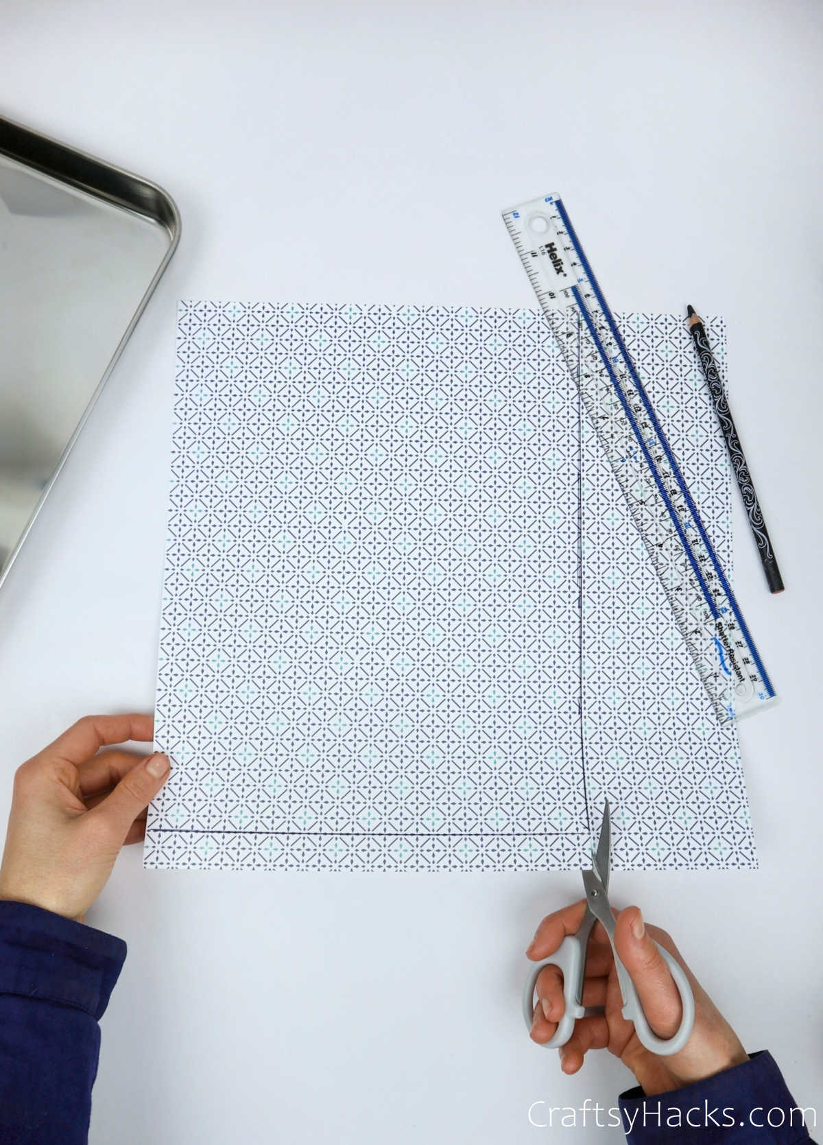 cutting out patterned paper