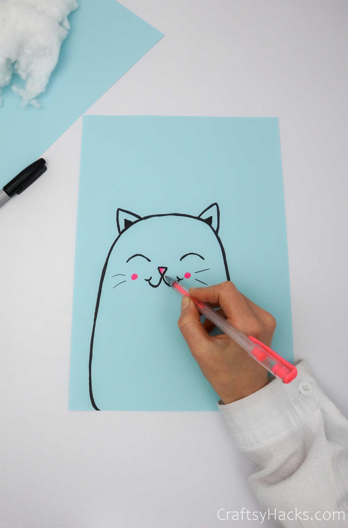 drawing cat face
