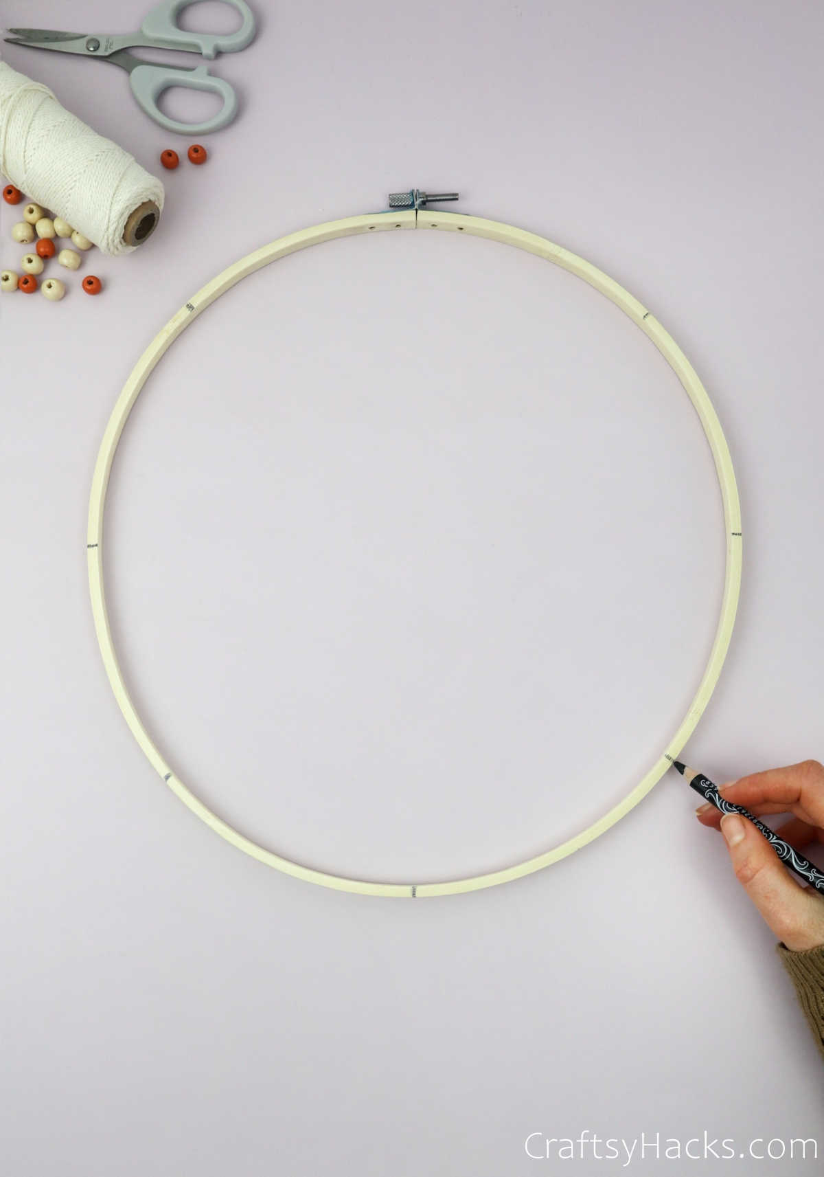 marking lines on hoop