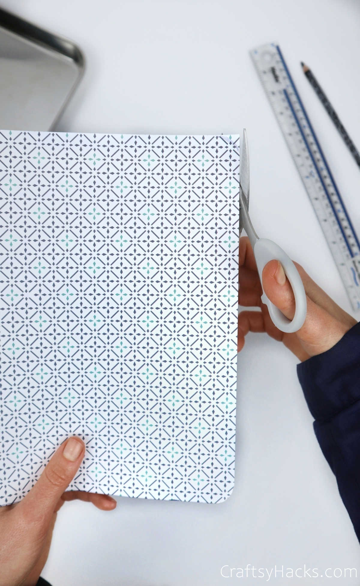 cutting decorative paper for tray