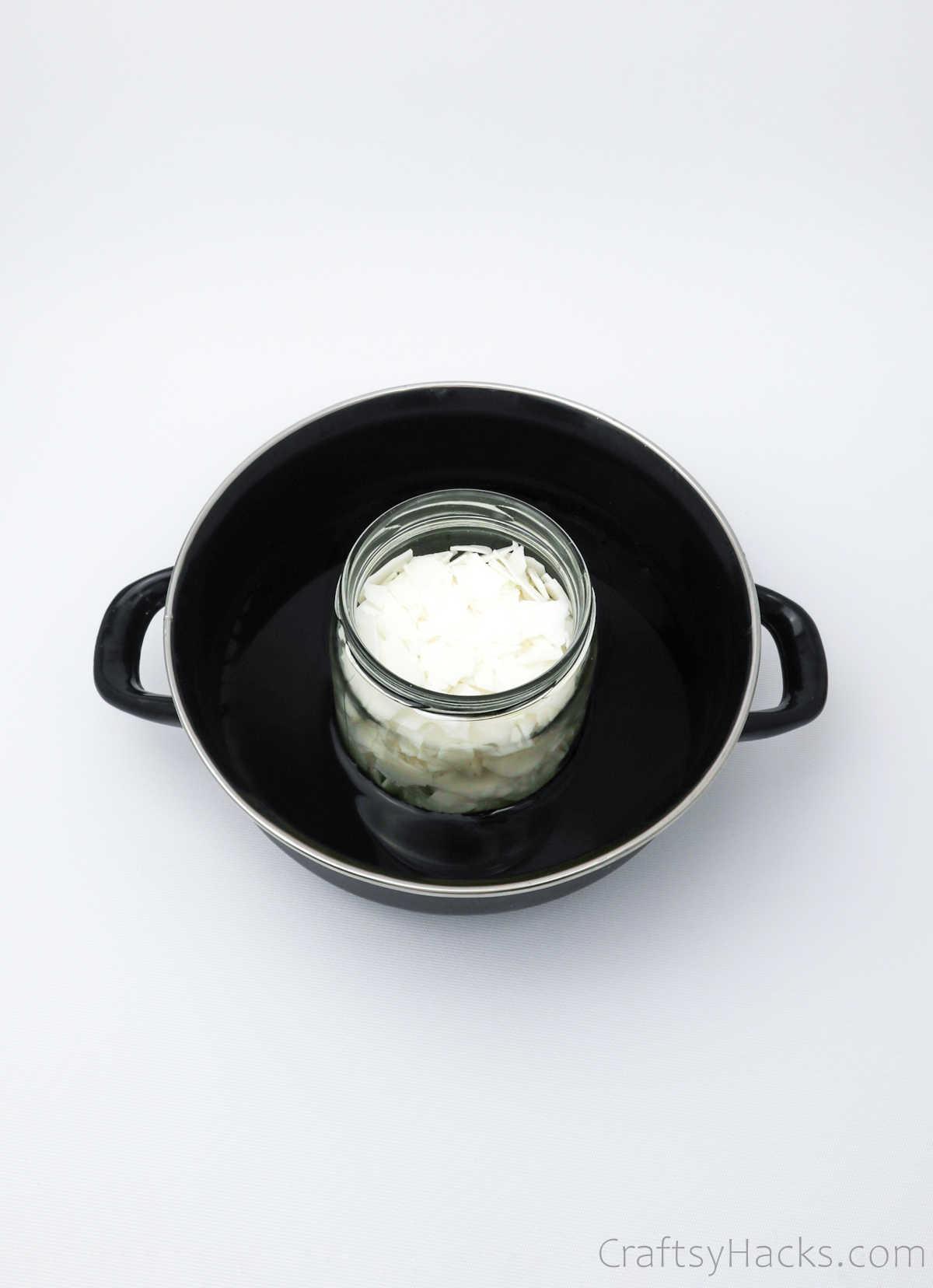 melting wax in jar