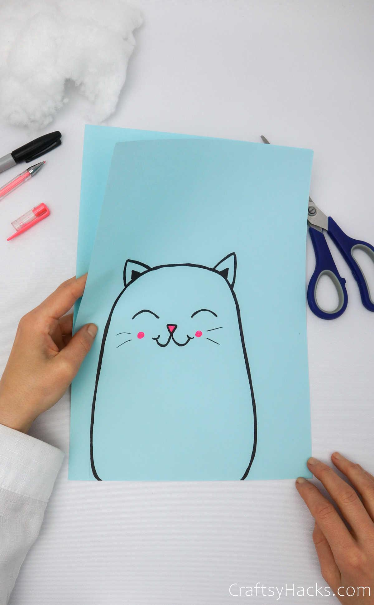 cat drawn on paper