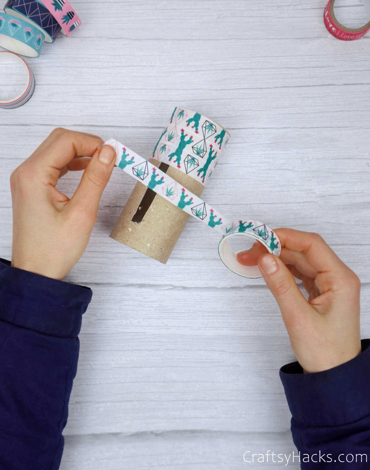 wrapping washi tape on paper roll