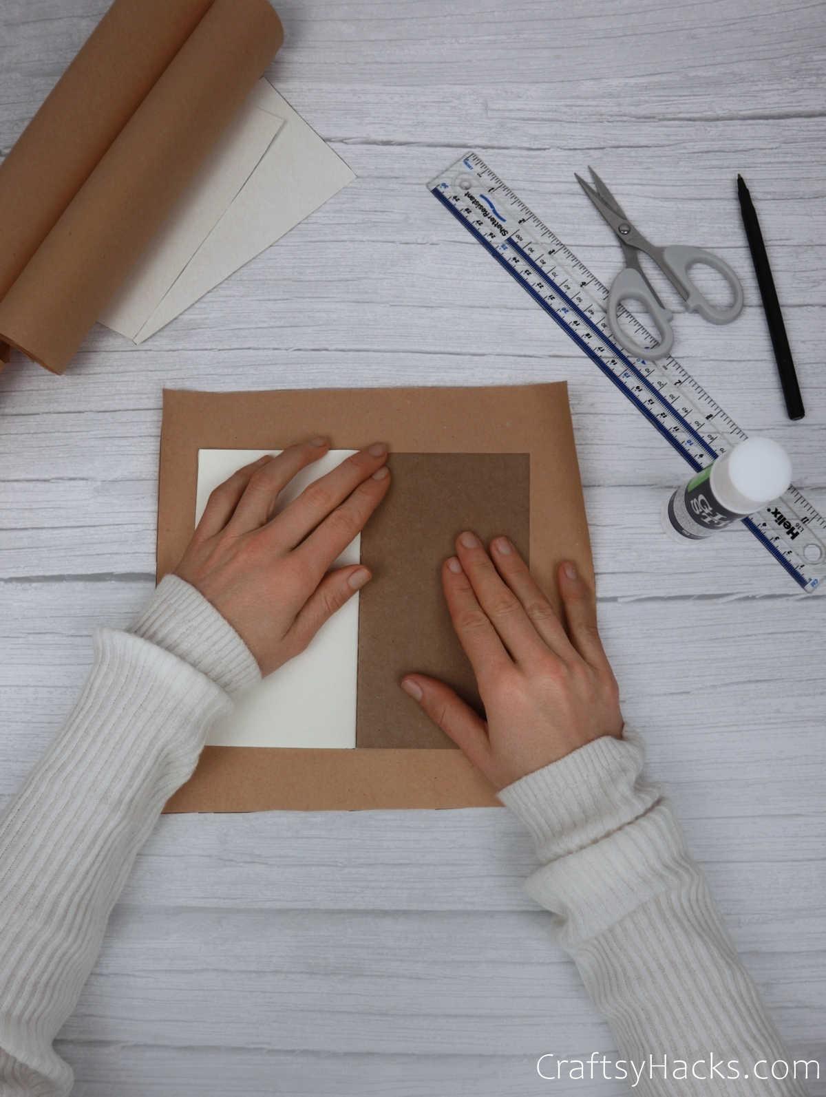 glueing down paper