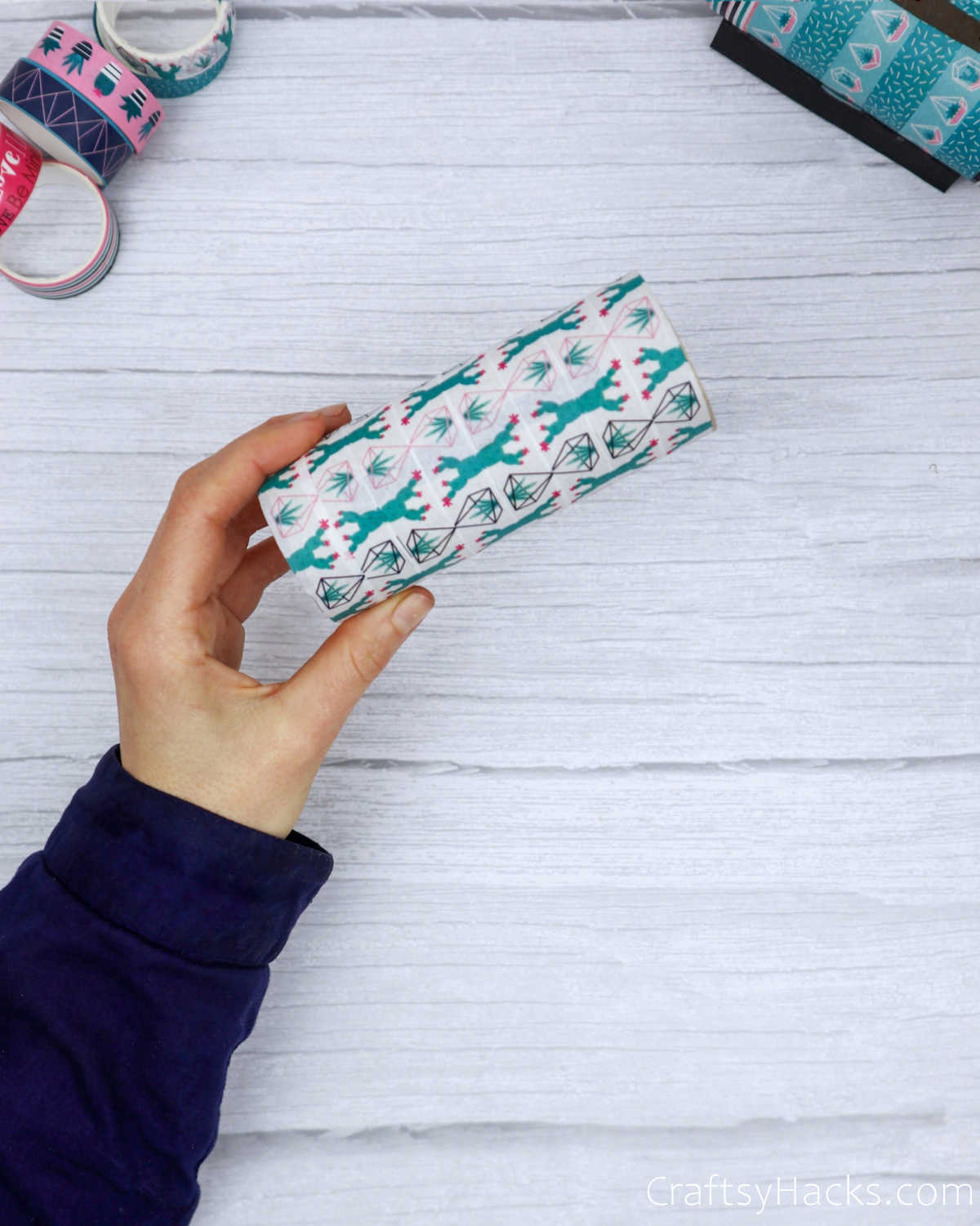 paper roll wrapped with washi tape
