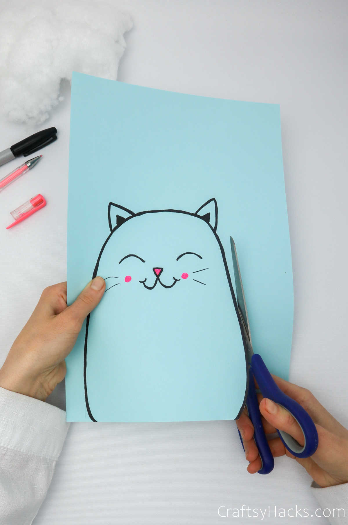 cutting out cat shape