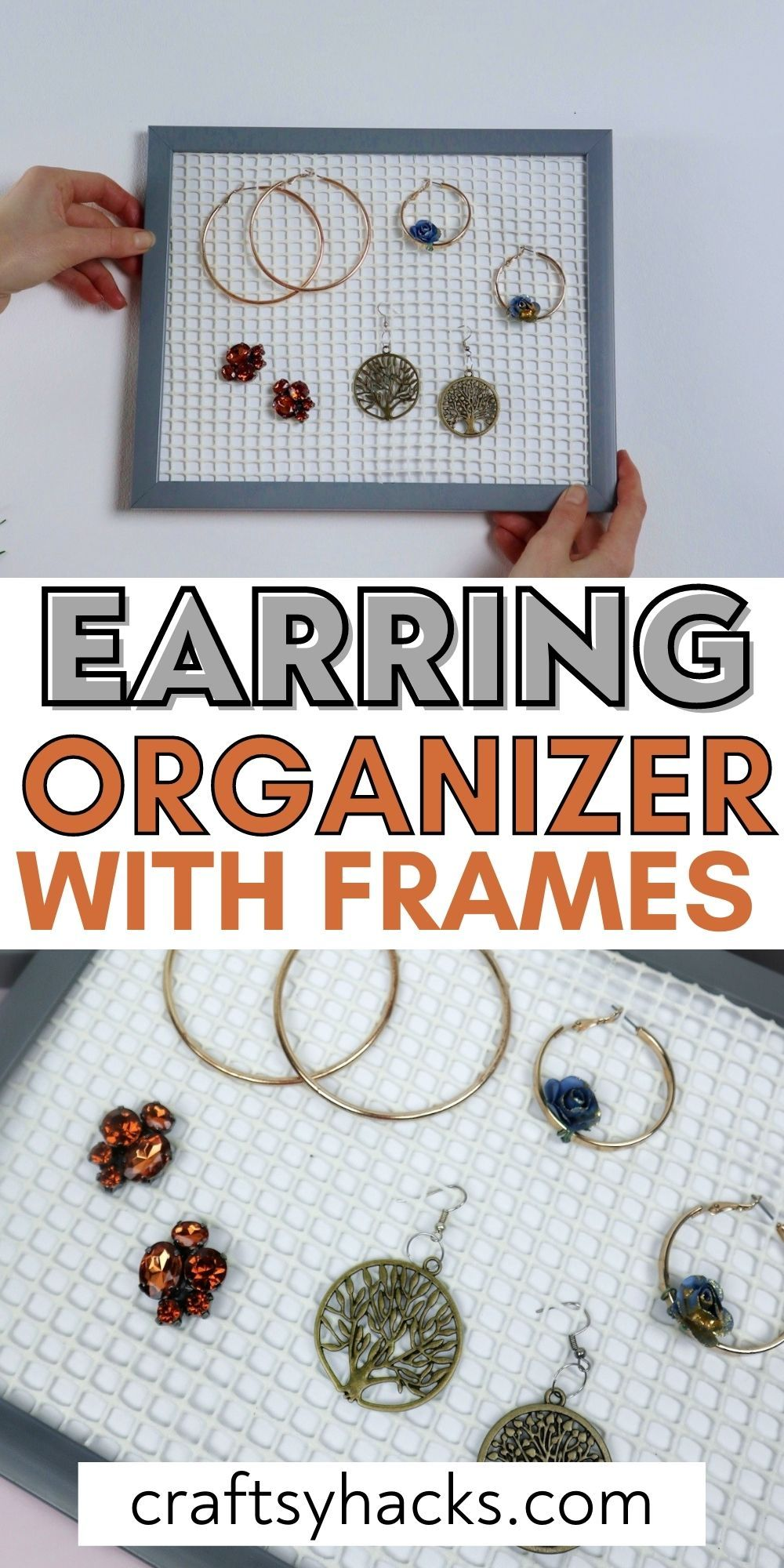 earring organizer with frames