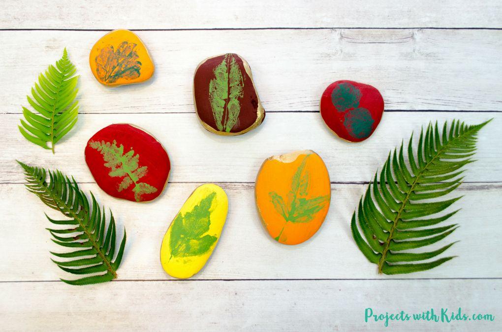 Leaf Printing on Rocks