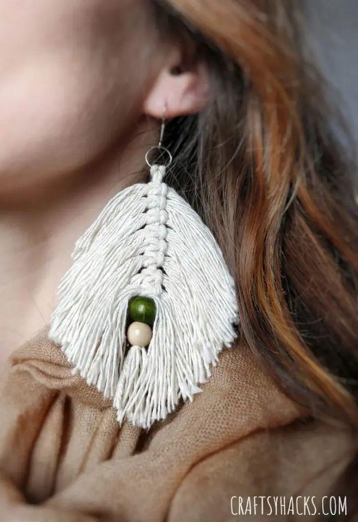DIY Macrame Leaf Earrings