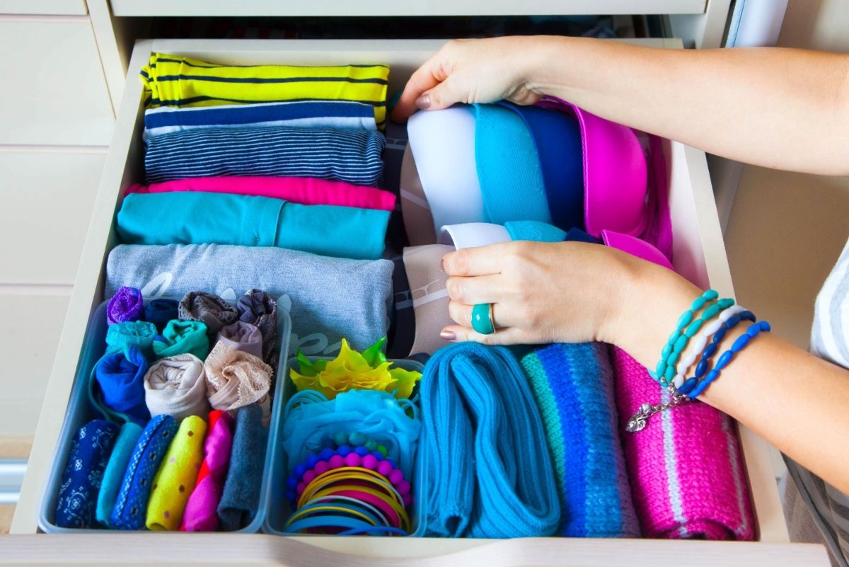 drawer with folded clothes