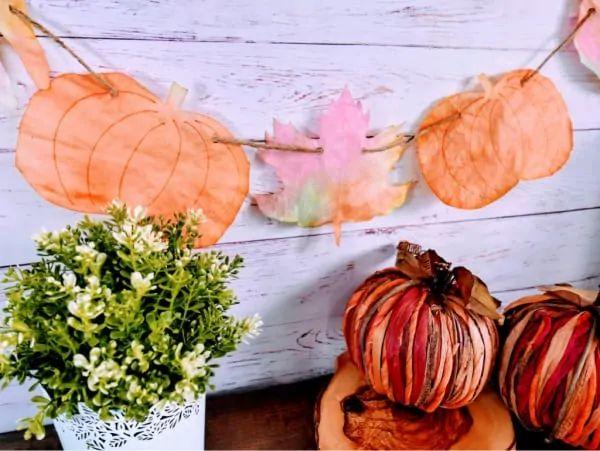 Coffee Filter Leaf and Pumpkin Craft