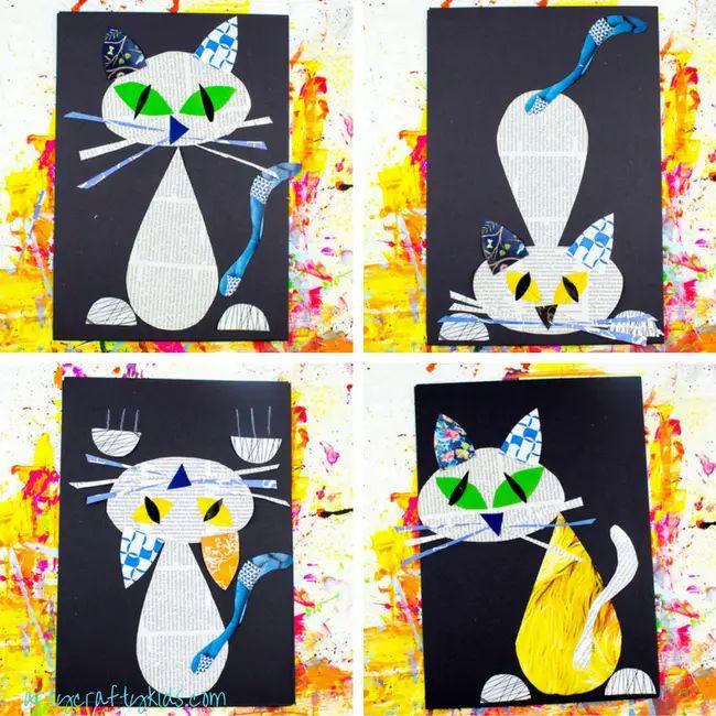 Cat Newspaper Art