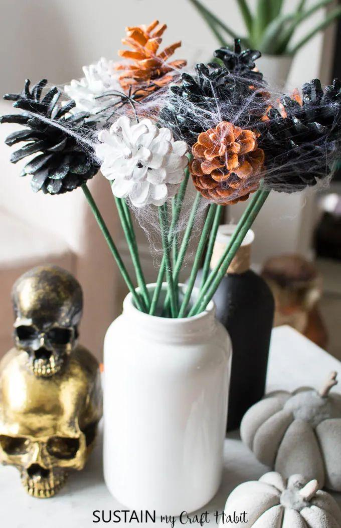 Halloween Flowers From Pinecones