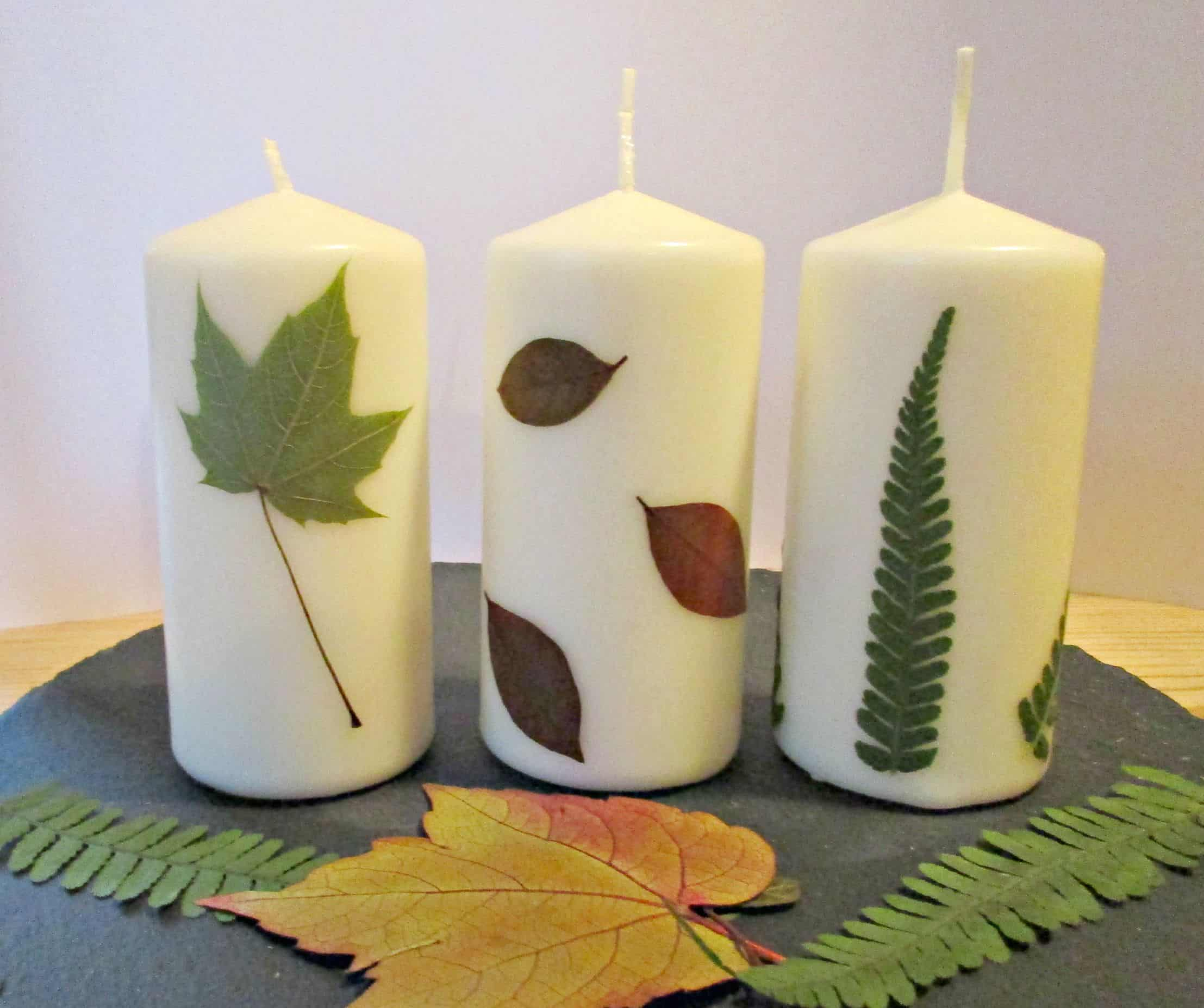 Pressed Leaves Candles