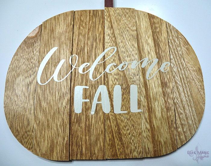 Welcome Fall Wood Pumpkin Sign