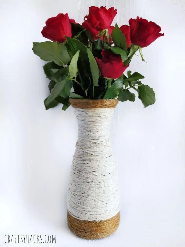 Yarn Wrapped Glass Vase