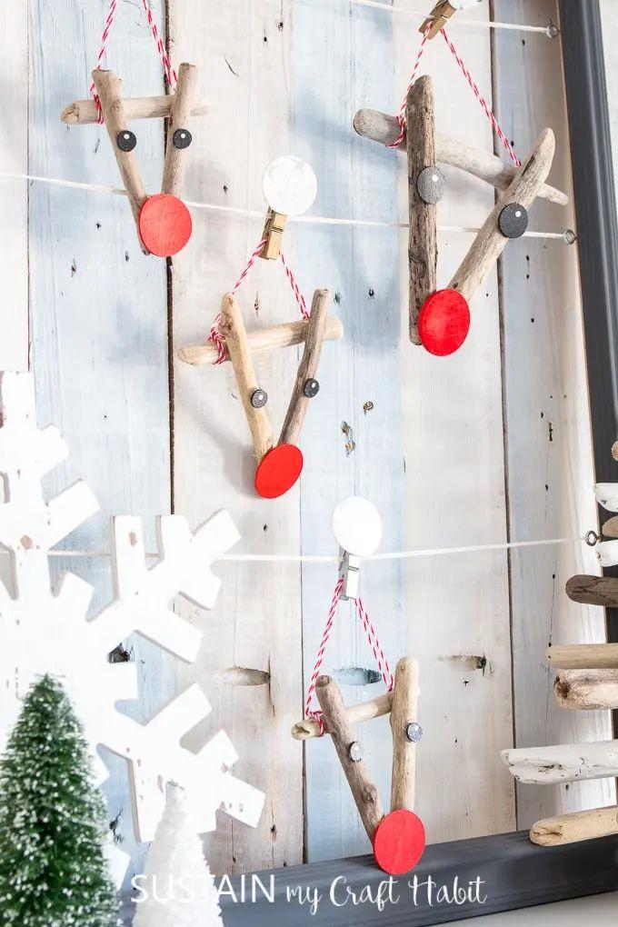 Reindeer Driftwood Ornaments