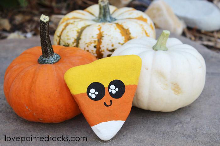 Candy Corn Halloween Rocks