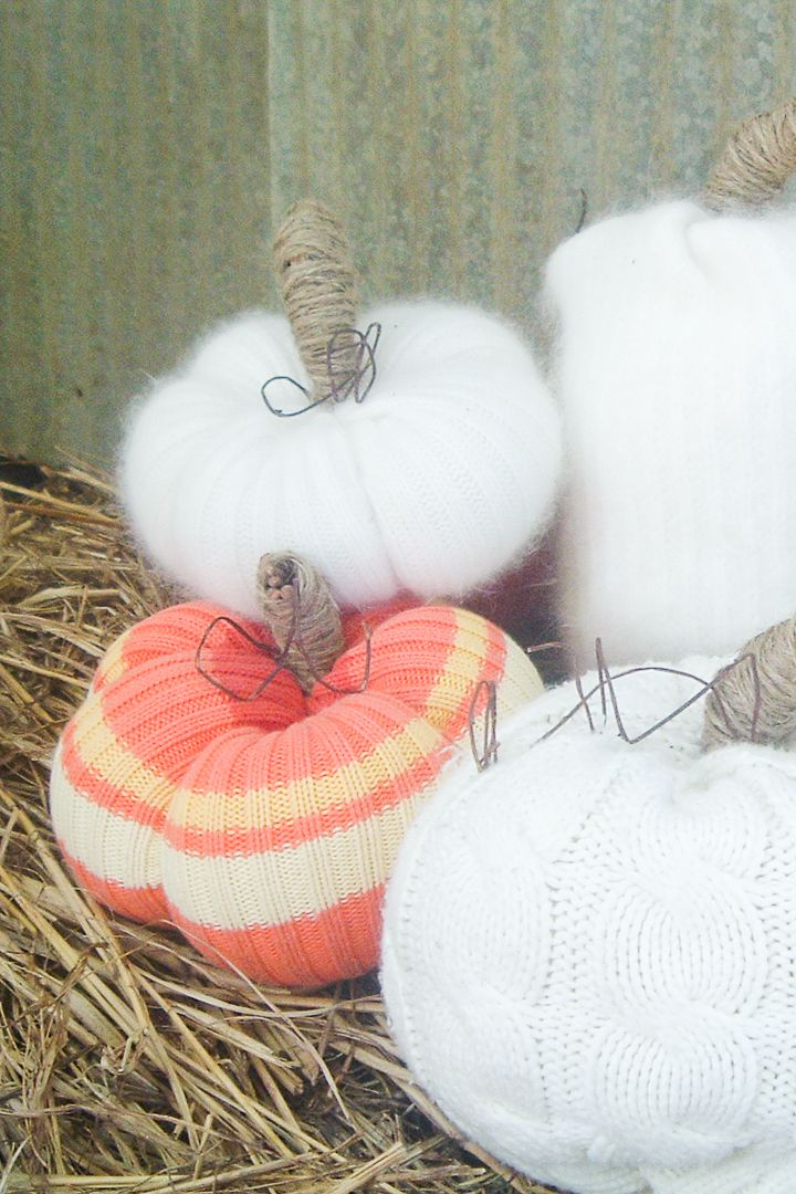 No-Sew Sweater Pumpkins
