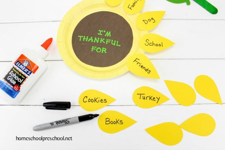 Thankful Sunflower Paper Plate Craft for Pre-schoolers