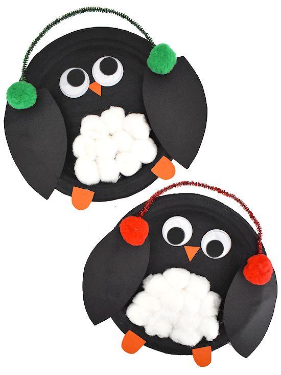 Cotton Ball Paper Plate Penguin