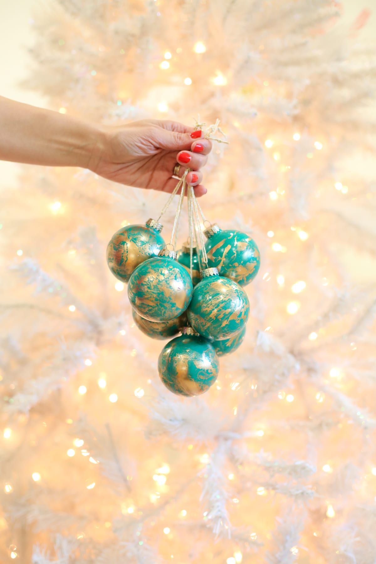 DIY Christmas Ornaments With Gold Marble