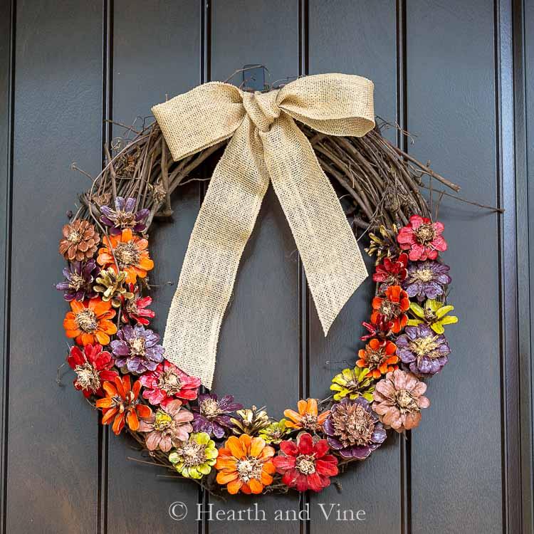 Pinecone Flower Wreath