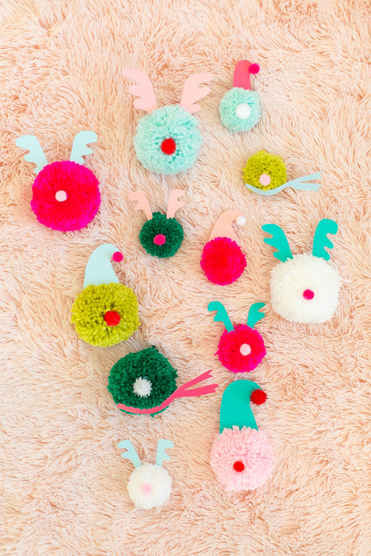 Pompom Reindeer Ornaments