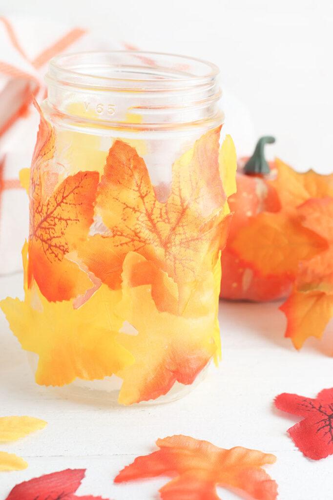 Mason Jar Leaf Lantern