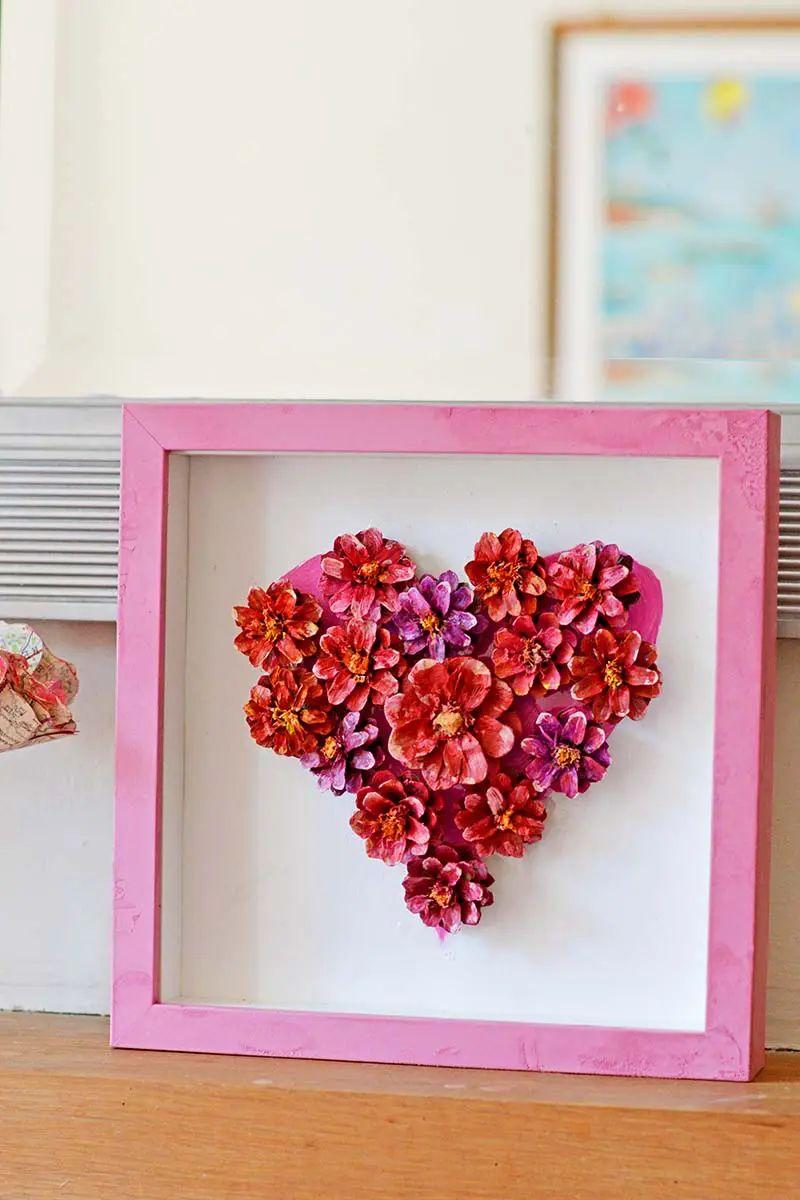 Pinecone Flower Heart Decoration