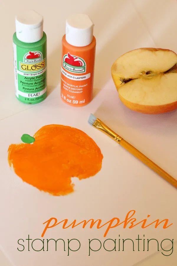 Apple Stamp Pumpkin Painting
